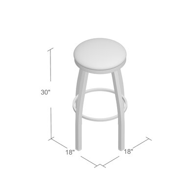 "Image of Cragin 30"" Swivel Bar Stool Finish: Anodized Nickel, Upholstery: Axis Denim"