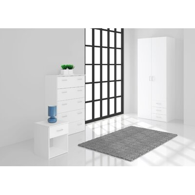Minda 3 Drawer and 2 Door Armoire Finish: White