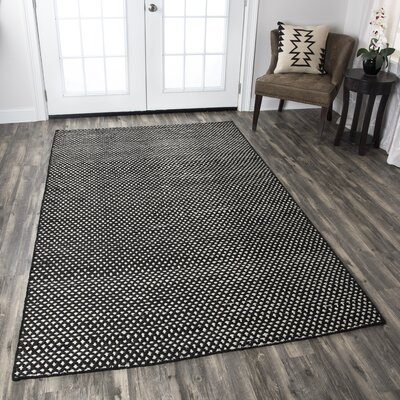 Allegan Hand-Loomed Black Area Rug Rug Size: Rectangle 8 x 10