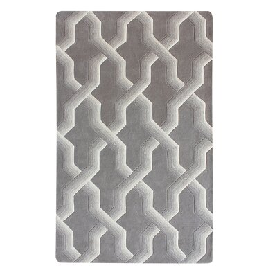 Bollman Wool Hand-Tufted Gray/Ivory Area Rug Rug Size: 5 x 8