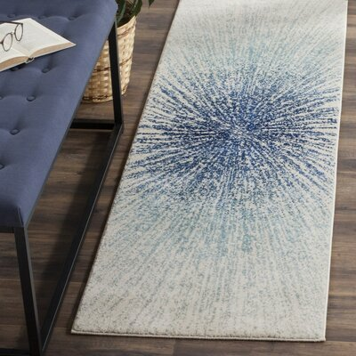 Cybil Royal/Ivory Area Rug Rug Size: Rectangle 67 x 9