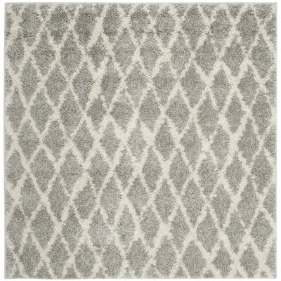 Shier Light Gray/Cream Area Rug Rug Size: Square 51 x 51