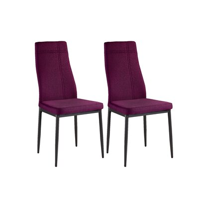 Cerise Modern Wood Upholstered Dining Chair Color: Purple