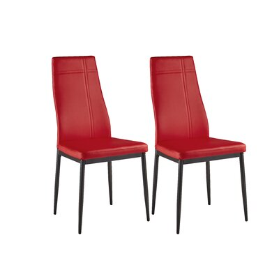 Calanthe Modern Side Chair Upholstery: Faux Leather - Red