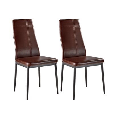 Cerise Modern Upholstered Dining Chair Color: Dark Brown