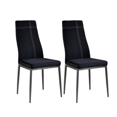 Cerise Modern Wood Upholstered Dining Chair Color: Black