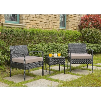 Giancarlo 3 Piece Lounge Seating Group with Cushion Fabric: Sand