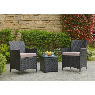 Minden 3 Piece Lounge Seating Group with Cushion Fabric / Finish: Sand / Black