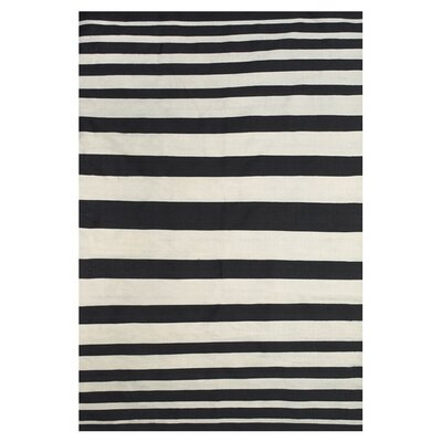 Calcote Hand Loomed Black Indoor/Outdoor Area Rug Rug Size: 8 x 11