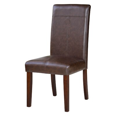 Spielman Wood Parsons Chair Upholstery: Chocolate