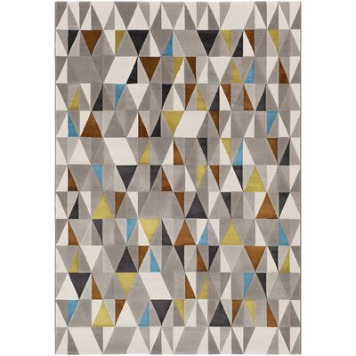 Peachtree Blue/Cream/Gray Area Rug Rug Size: 5 x 8