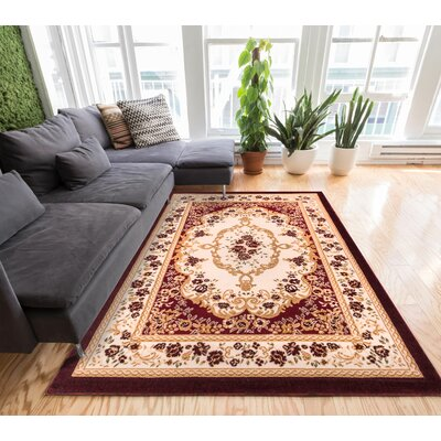 Ruark Red Area Rug Rug Size: 93 x 126