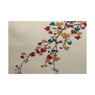 Courts Maple Hues Flower Print Teal Indoor/Outdoor Area Rug Rug Size: 3 x 5