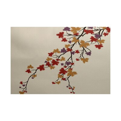 Courts Maple Hues Flower Print Purple Indoor/Outdoor Area Rug Rug Size: 3 x 5