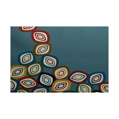 Cotner Falling Leaves Geometric Print Teal Indoor/Outdoor Area Rug Rug Size: 4 x 6
