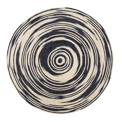 Calle Handmade Black/Tan Area Rug Rug Size: Round 4