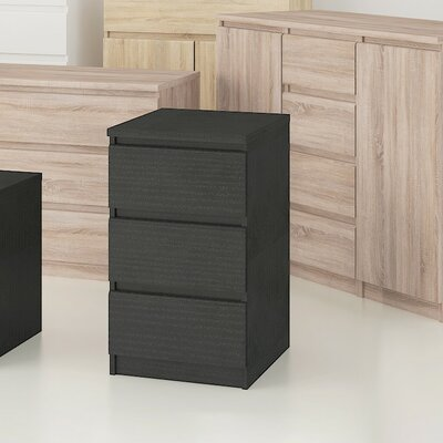 Kepner 3 Drawer Dresser Color: Black Wood Grain