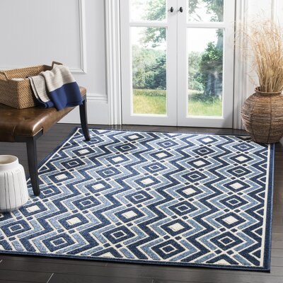 Charlot Blue/Beige Indoor/Outdoor Area Rug Rug Size: 33 x 53
