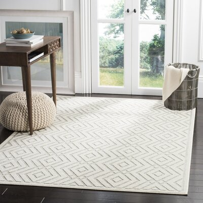 Cabana Light Gray/Cream Indoor/Outdoor Area Rug Rug Size: 33 x 53