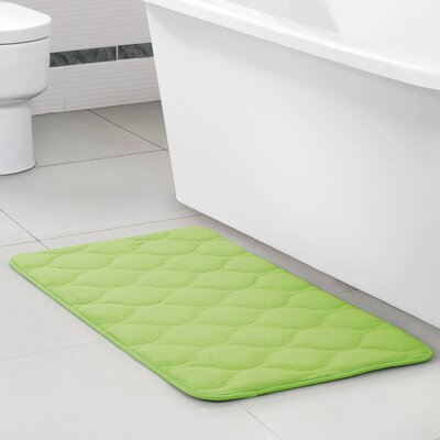 Callicles Memory Foam Embossed Green Area Rug Size: 17 W x 24 L, Color: Green