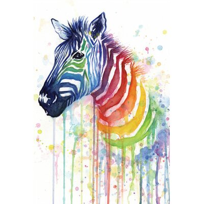 Rainbow Zebra by Olga Shvartsur Print Painting on Wrapped Canvas Size: 16