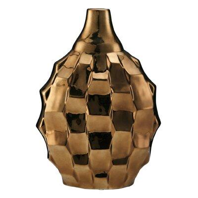 Metallic Rippled Vase