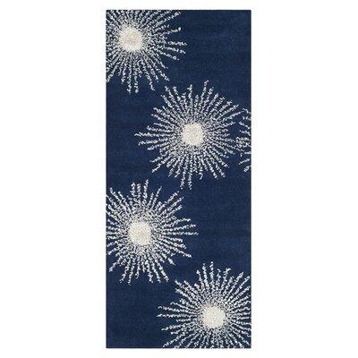 Schaub Dark Blue & Ivory Area Rug Rug Size: Runner 26 x 10