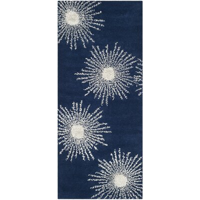 Dash Hand-Tufted Dark Blue/Ivory Area Rug Rug Size: Runner 26 x 10