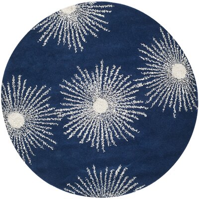 Dash Hand-Tufted Dark Blue/Ivory Area Rug Rug Size: Round 6