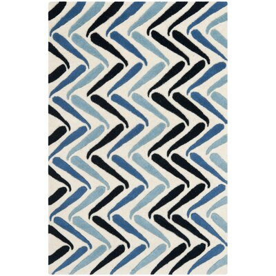 Schaub Ivory/Blue Rug Rug Size: Rectangle 26 x 4