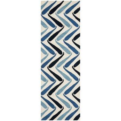 Schaub Ivory/Blue Rug Rug Size: Runner 26 x 8