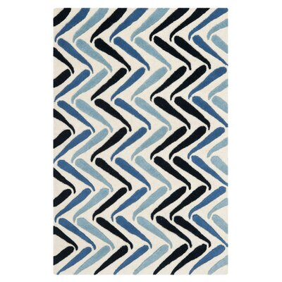 Schaub Ivory/Blue Rug Rug Size: Rectangle 36 x 56