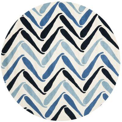 Schaub Ivory/Blue Rug Rug Size: Round 6