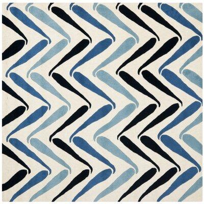 Schaub Ivory/Blue Rug Rug Size: Square 6