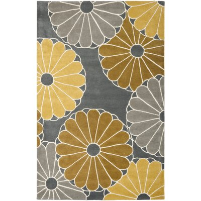 Schaub Grey/Yellow Rug Rug Size: Rectangle 76 x 96