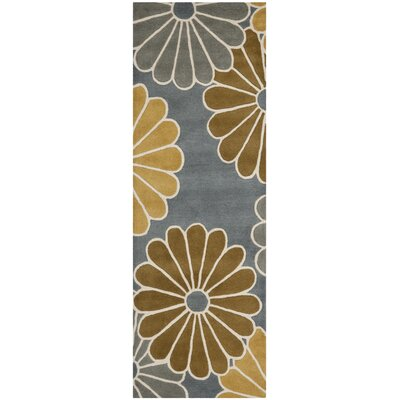 Schaub Grey/Yellow Rug Rug Size: Runner 26 x 8