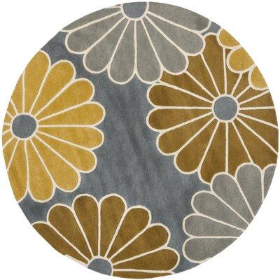 Schaub Grey/Yellow Rug Rug Size: Round 6