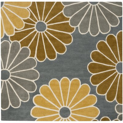 Schaub Grey/Yellow Rug Rug Size: Square 6