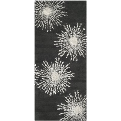 Schaub Charcoal/Ivory Rug Rug Size: Runner 26 x 10