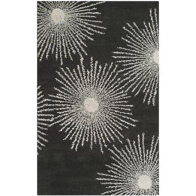 Dash Charcoal/Ivory Rug Rug Size: 76 x 96