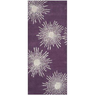 Schaub Purple & Ivory Area Rug Rug Size: Runner 2'6