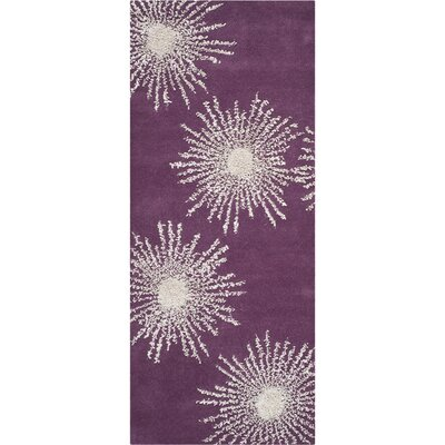 Dash Purple & Ivory Area Rug Rug Size: Runner 26 x 6