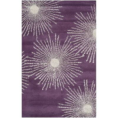 Dash Purple & Ivory Area Rug Rug Size: 2 x 3