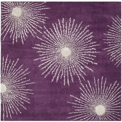 Dash Purple & Ivory Area Rug Rug Size: Square 6