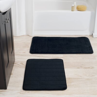 Collingdale 2 Piece Striped Memory Foam Bath Mat Set Color: Black