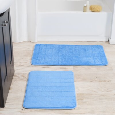 Jensen 2 Piece Striped Memory Foam Bath Mat Set Color: Blue