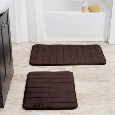 Jensen 2 Piece Striped Memory Foam Bath Mat Set Color: Chocolate