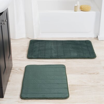 Jensen 2 Piece Striped Memory Foam Bath Mat Set Color: Green