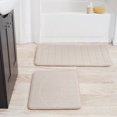 Jensen 2 Piece Striped Memory Foam Bath Mat Set Color: Ivory