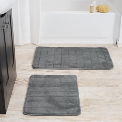 Jensen 2 Piece Striped Memory Foam Bath Mat Set Color: Platinum